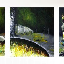 Triptych Bowling, 200 x 150 180 150 cm, oil on canvas, 2011